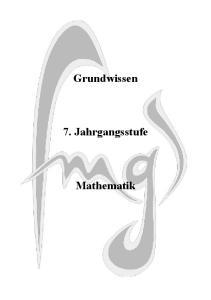 Grundwissen. 7. Jahrgangsstufe. Mathematik