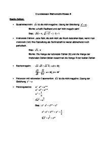 Grundwissen Mathematik Klasse 9