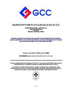 GRUPO CEMENTOS DE CHIHUAHUA, S.A.B. DE C.V