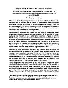 Grupo de trabajo de la RICE sobre conductas unilaterales