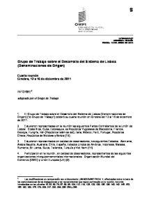 Grupo de Trabajo sobre el Desarrollo del Sistema de Lisboa (Denominaciones de Origen)