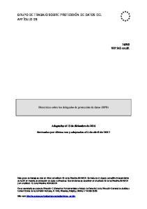 GRUPO DE TRABAJO SOBRE PROTECCIÓN DE DATOS DEL ARTÍCULO 29