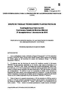 GRUPO DE TRABAJO TÉCNICO SOBRE PLANTAS FRUTALES