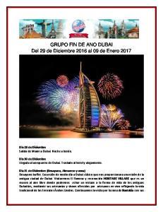 GRUPO FIN DE ANO DUBAI Del 29 de Diciembre 2016 al 09 de Enero 2017