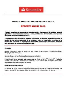 GRUPO FINANCIERO SANTANDER, S.A.B. DE C.V. REPORTE ANUAL 2010