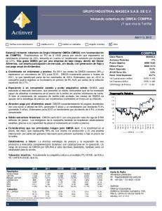 GRUPO INDUSTRIAL MASECA S.A.B. DE C.V. Iniciando cobertura de GIMSA: COMPRA Y que viva la Tortilla! COMPRA. Abril 13, 2012