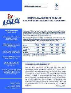 GRUPO LALA REPORTS RESULTS FOURTH QUARTER AND FULL YEAR 2014