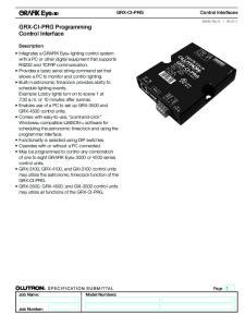 GRX-CI-PRG Programming Control Interface