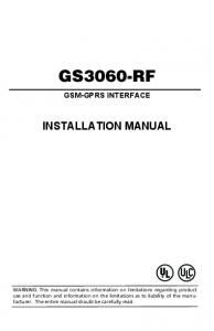 GS3060-RF GSM-GPRS INTERFACE INSTALLATION MANUAL