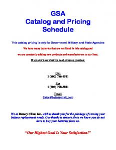 GSA Catalog and Pricing Schedule
