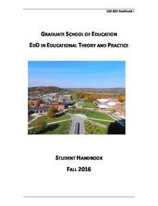 GSE EdD Handbook 1 GRADUATE SCHOOL OF EDUCATION EDD IN EDUCATIONAL THEORY AND PRACTICE