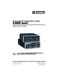 G.SHDSL Router. DiamondLink Model 3201 & Quick Start Guide