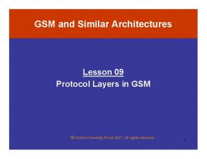GSM and Similar Architectures Lesson 09 Protocol Layers in GSM