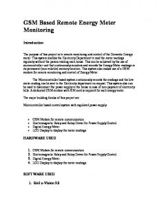 GSM Based Remote Energy Meter Monitoring