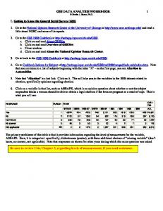 GSS DATA ANALYSIS WORKBOOK 1 Martha J. Bianco, Ph.D