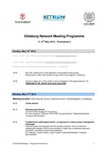 Göteborg Network Meeting Programme