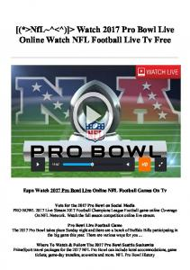 [(*>NfL~^<^)]> Watch 2017 Pro Bowl Live Online Watch NFL Football Live Tv Free