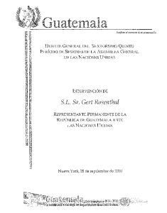 Guatemala. DEBATE GENERAL DEL SEXAGESIMO QUINTO PERiODO DE SESIONES DE LA ASAMBLEA GENERAL DE LAS NACIONES UNIDAS INTERVENCION DE