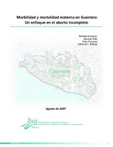 Guerrero. Morbilidad y mortalidad materna en Guerrero: Un enfoque en el aborto incompleto. Agosto de 2007