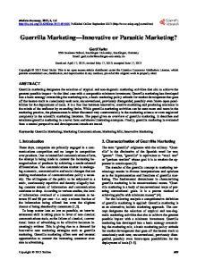 Guerrilla Marketing Innovative or Parasitic Marketing?