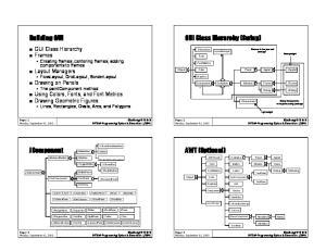 GUI Class Hierarchy (Swing) Building GUI. AWT (Optional) JComponent