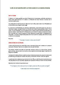 GUÍA DE ACTUACIÓN ANTE LA PEDICULOSIS DE LA CABEZA (PIOJOS)