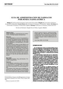 GUIA DE ADMINISTRACION DE FARMACOS POR SONDA NASOGASTRICA