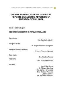 GUIA DE FARMACOVIGILANCIA PARA EL REPORTE DE EVENTOS ADVERSOS EN INVESTIGACION CLINICA