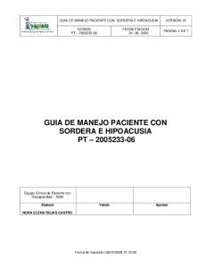 GUIA DE MANEJO PACIENTE CON SORDERA E HIPOACUSIA PT