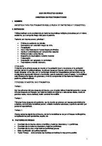 GUIA DE PRACTICA CLINICA ANESTESIA EN POLITRAUMATIZADO ANESTESIA PARA POLITRAUMATIZADOS ( CIRUGIA DE EMERGENCIA Y DESASTRES )