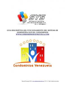 GUIA DESCRIPTIVA DEL FUNCIONAMIENTO DEL SISTEMA DE ADMINISTRACION DE CONDOMINIOS