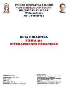 GUIA DIDACTICA FISICA 4to INTERACCIONES MECANICAS