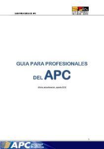GUIA PARA CURSO DE APC GUIA PARA PROFESIONALES DEL APC