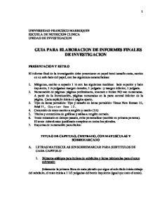 GUIA PARA ELABORACION DE INFORMES FINALES DE INVESTIGACION