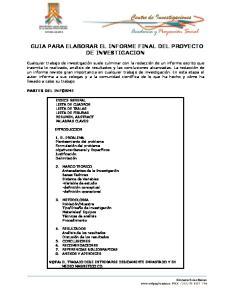 GUIA PARA ELABORAR EL INFORME FINAL DEL PROYECTO DE INVESTIGACION