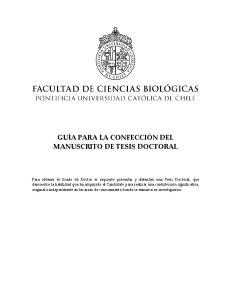 GUÍA PARA LA CONFECCIÓN DEL MANUSCRITO DE TESIS DOCTORAL