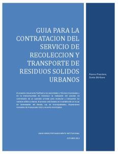 GUIA PARA LA CONTRATACION DEL SERVICIO DE RECOLECCION Y TRANSPORTE DE RESIDUOS SOLIDOS URBANOS