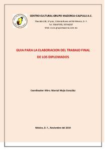 GUIA PARA LA ELABORACION DEL TRABAJO FINAL DE LOS DIPLOMADOS