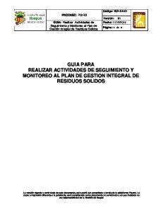 GUIA PARA REALIZAR ACTIVIDADES DE SEGUIMIENTO Y MONITOREO AL PLAN DE GESTION INTEGRAL DE RESIDUOS SOLIDOS