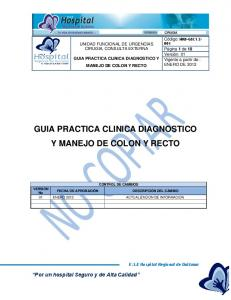 GUIA PRACTICA CLINICA DIAGNOSTICO Y MANEJO DE COLON Y RECTO