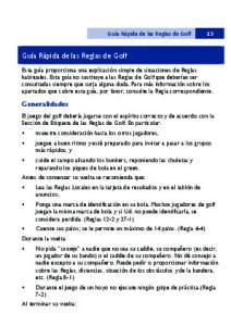Guía Rápida de las Reglas de Golf