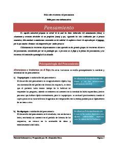 Guía sobre trastornos del pensamiento. Sólo para uso informativo. Pensamiento