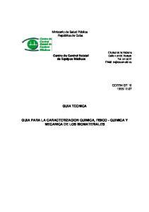 GUIA TECNICA GUIA PARA LA CARACTERIZACION QUIMICA, FISICO - QUIMICA Y MECANICA DE LOS BIOMATERIALES