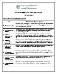 GUÍAS DE EXAMEN SEGUNDA EVALUACIÓN 2 SECUNDARIA