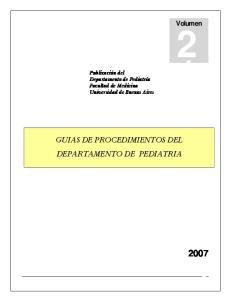 GUIAS DE PROCEDIMIENTOS DEL DEPARTAMENTO DE PEDIATRIA