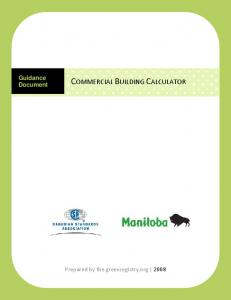 Guidance Document COMMERCIAL BUILDING CALCULATOR