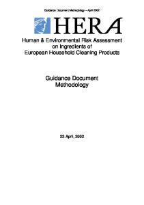 Guidance Document Methodology