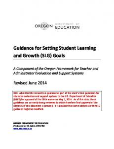 Guidance for Setting Student Learning and Growth (SLG) Goals