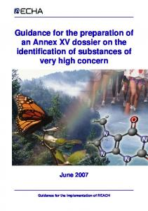 Guidance for the preparation of an Annex XV dossier on the identification of substances of very high concern June 2007