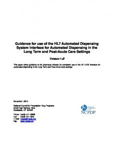Guidance for use of the HL7 Automated Dispensing System Interface for Automated Dispensing in the Long Term and Post-Acute Care Settings
